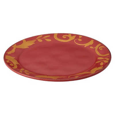 "Rachael Ray Gold Scroll Round Platter - Red (12.5"")"