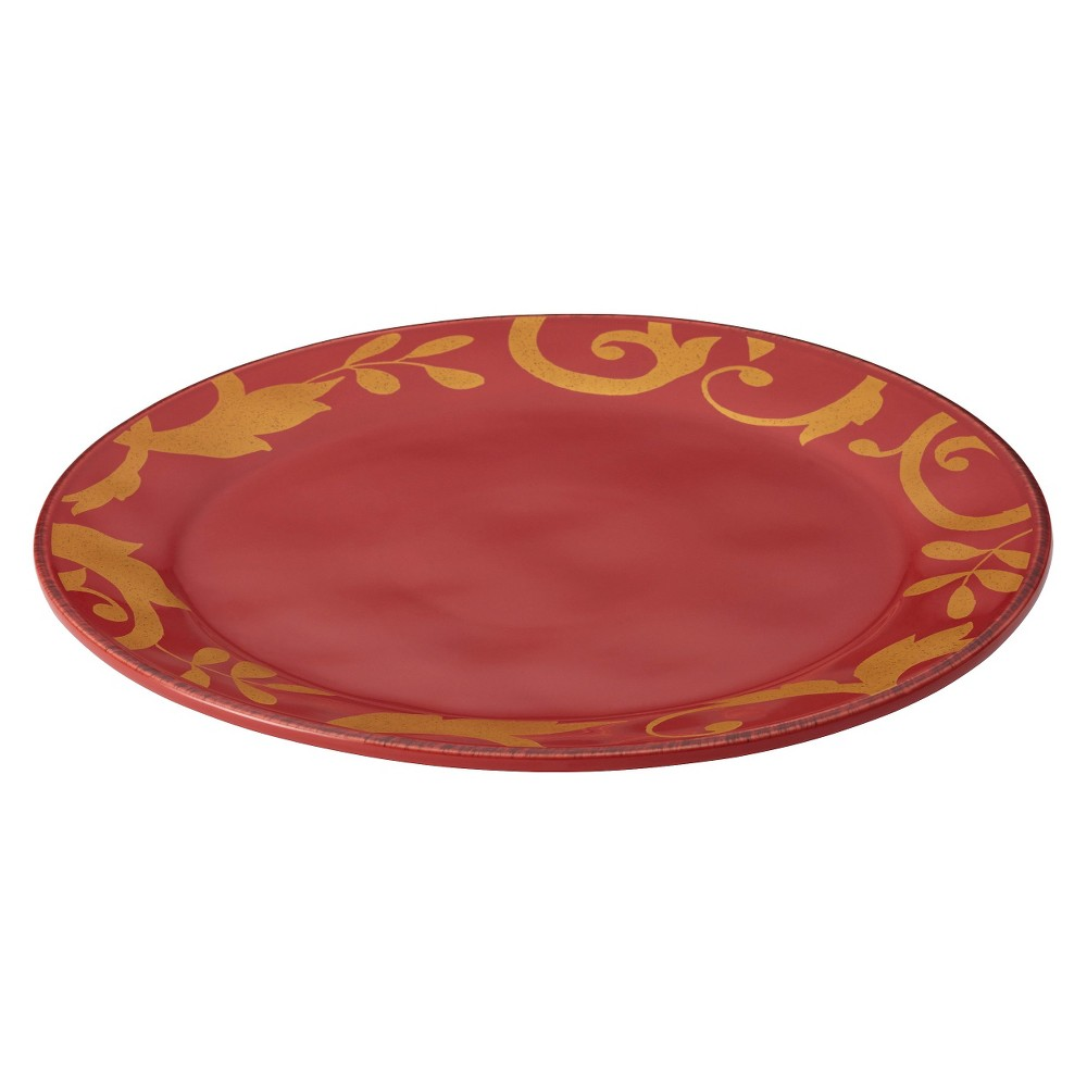 Rachael Ray Gold Scroll Round Platter - Red (12.5), Multi-Colored