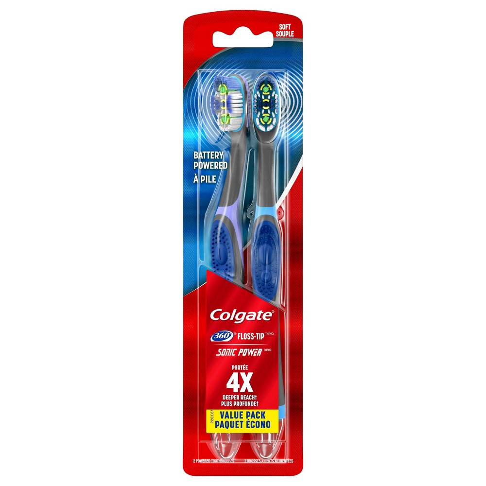 Image of Colgate 360 Total Advanced Floss-Tip Sonic Powered Toothbrush - Soft - 2ct