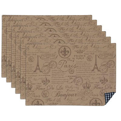 Black French Flourish Printed Placemat (Set Of 6)- Design Imports