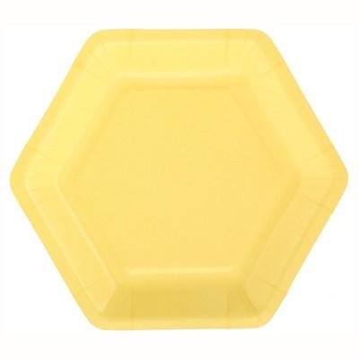 "7"" 20ct Hexagon Shaped Snack Plates Yellow - Spritz™"
