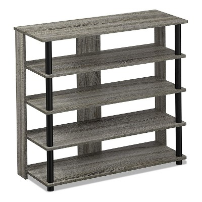 Furinno Turn-N-Tube 5 Tier Wide Wooden Shoe Rack Shelf Closet Organizer for Home Entryways, Living Rooms, and Mud Rooms, French Oak Grey