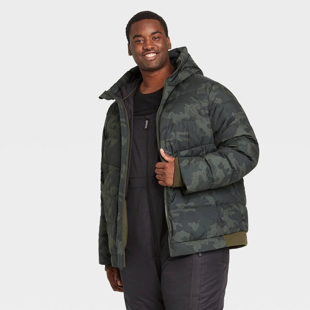 Men's Big & Tall Camo Print Heavyweight Down Puffer Jacket – All in Motion Green 2XB