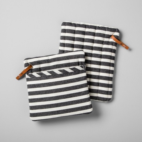 Striped Pot Holder (Set of 2) - Black/White - Hearth & Hand™ with Magnolia - image 1 of 1