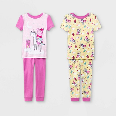 Toddler Girls' 4pc Peppa Pig Snug Fit Pajama Set - Yellow