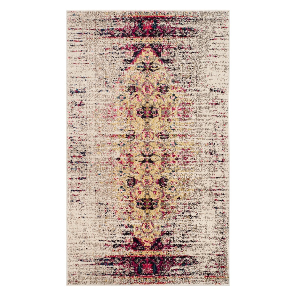 Medallion Accent Rug Ivory/Pink