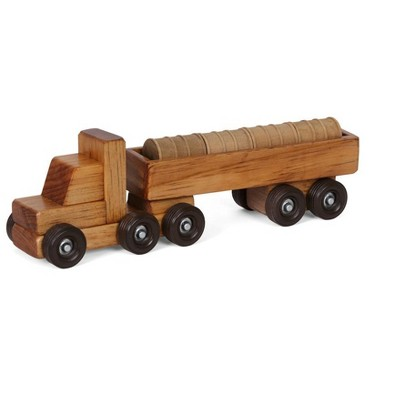 Remley Kids Wooden Barrel Truck w/ Barrels Playset