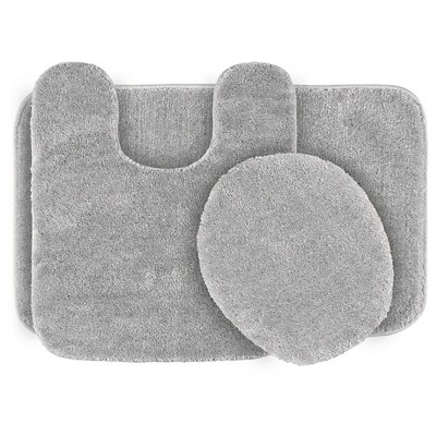 Garland 3 Piece Traditional Washable Nylon Bath Rug Set - Platinum Gray