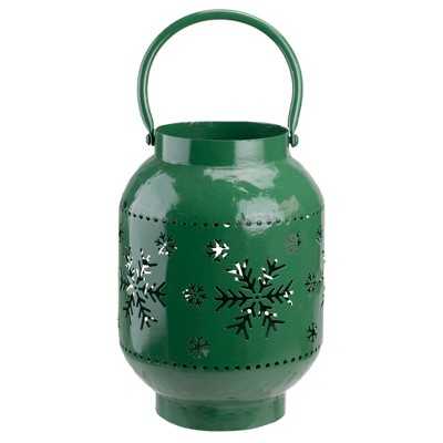 "Northlight 10"" Green Snowflake Cutout Christmas Candle Lantern- Metal"