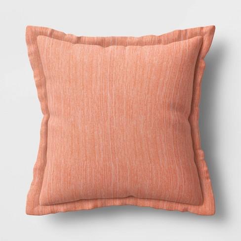 "24"" Decorative Throw Pillow DuraSeason Fabric™ Flanged Melon - Threshold™ - image 1 of 4"