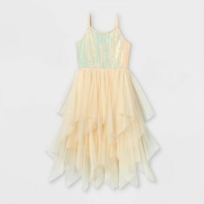 Girls' Sequin Tulle Dress - Cat & Jack™ Cream
