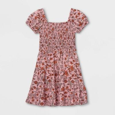 Girls' Smocked Short Sleeve Dress - art class™