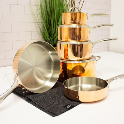 BergHOFF Vintage Collection Copper 10Pc  Tr-Ply Cookware Set, Polished Exterior