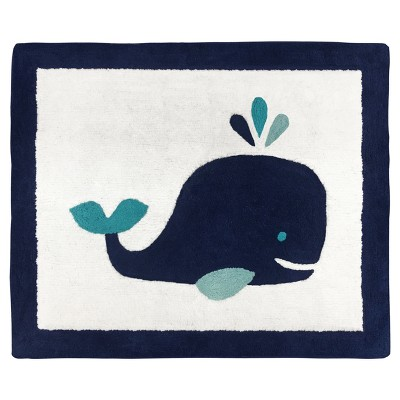 Navy & White Whale Rug (2'x3')- Sweet Jojo Designs®