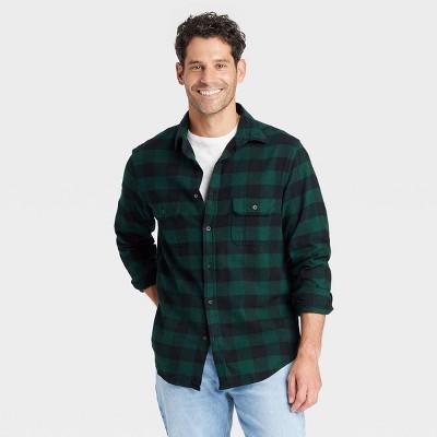 Men's Standard Fit Premium Flannel Long Sleeve Button-Down Shirt - Goodfellow & Co™