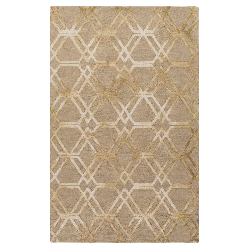 Khaki (Green) Abstract Hooked Accent Rug - (4'X6') - Surya