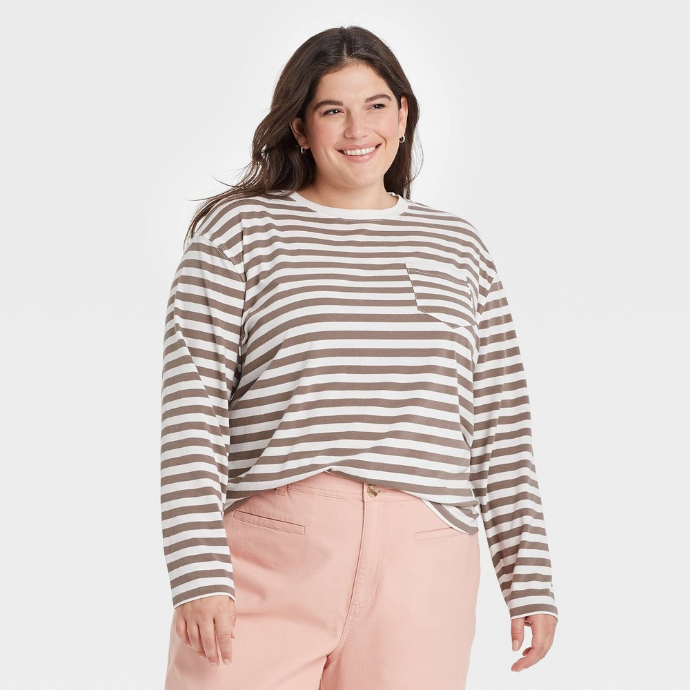 Women 39 S Plus Size Striped Slim Fit Long Sleeve Round Neck Pocket T Shirt A New Day 8482 Brown 1x