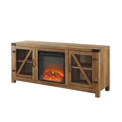 "DoubleDoor Rustic Electric Fireplace TV Standfor TVs up to 65"" - Saracina Home"
