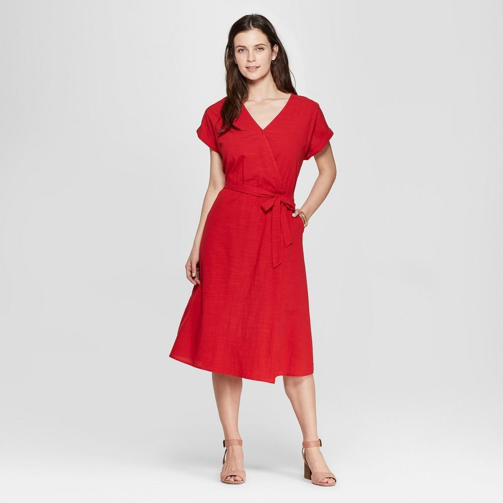 Women's Short Sleeve V-Neck Midi Dress - Universal Thread Red XS
