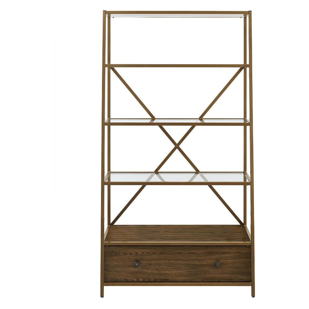 Eos Pyramid Bookcase Etagere 71.375 Brass - Dorel Living