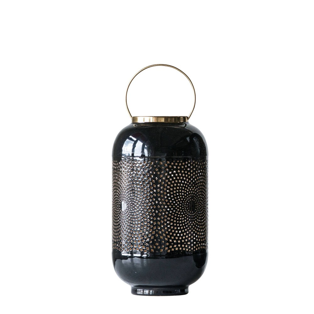 "Image of ""14"""" x 8"""" Enameled Candle Holder Lantern with Brass Handle Black - 3R Studios"""