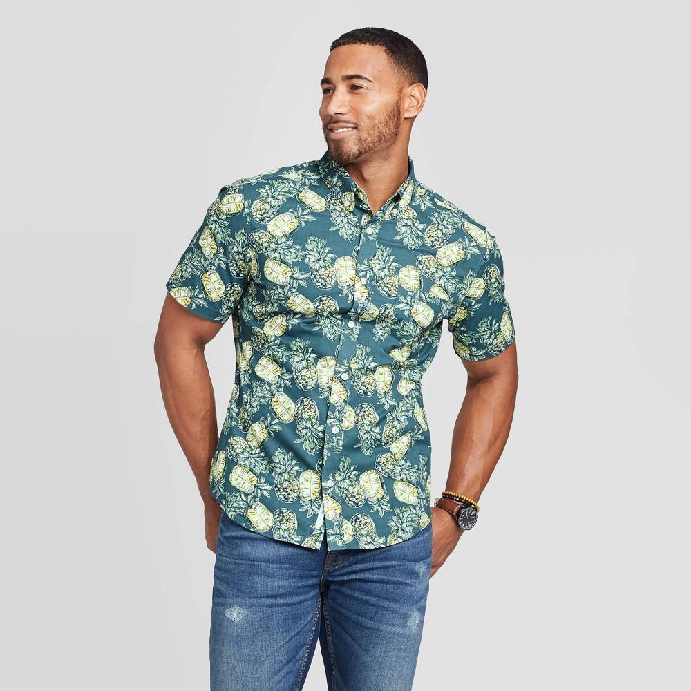 Men's Pineapple Print Slim Fit Short Sleeve Poplin Button-Down Shirt - Goodfellow & Co Dark Blue L, Men's, Size: Large was $19.99 now $12.0 (40.0% off)