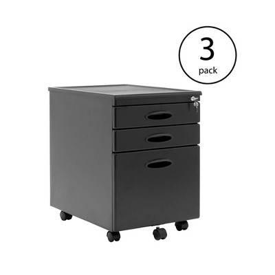 Calico Designs Home Office Organization Drawer File Cabinet, Black (3 Pack)