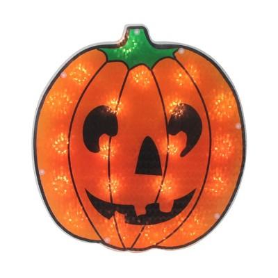 "Northlight 13"" Prelit Holographic Jack o' Lantern Pumpkin Halloween Window Silhouette Decoration - Orange/Black"