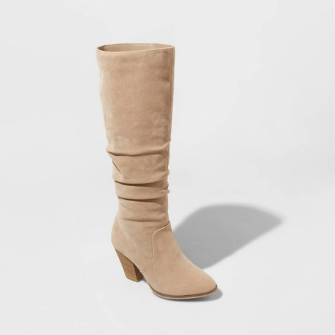 Women's Lanae Microsuede Heeled Scrunch Riding Boots - Universal Thread™ Taupe 10 - image 1 of 3