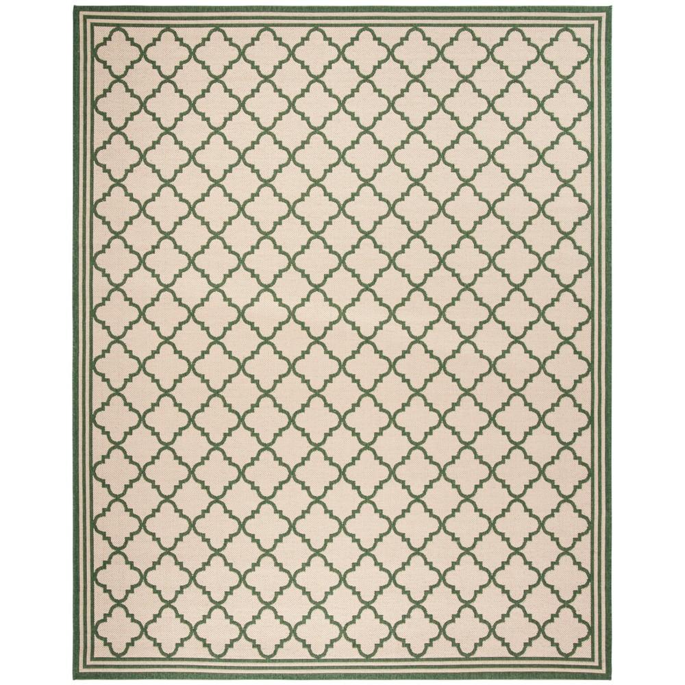 9'X12' Quatrefoil Design Loomed Area Rug Cream/Green (Ivory/Green) - Safavieh