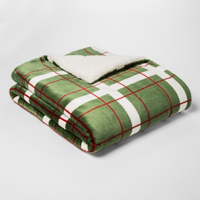 Printed Plush Reverse To Sherpa Throw Blanket Cream/Green - Threshold™