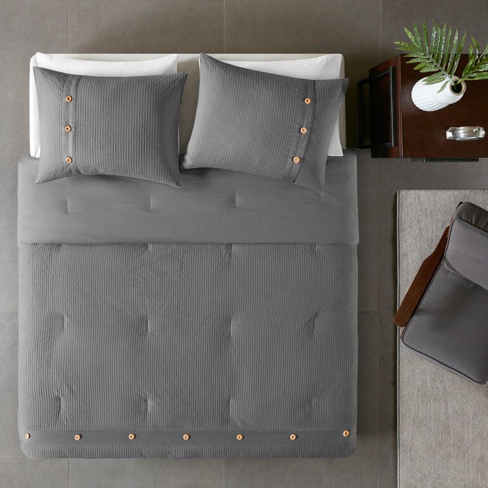 3pc King/Cal King Lucina Cotton Waffle Weave Comforter Set Gray