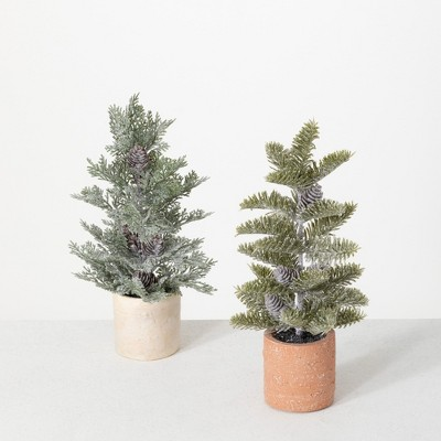 """Sullivans 1' & 1' Potted Pine Artificial Tree 12""""H & 12""""H Green"""