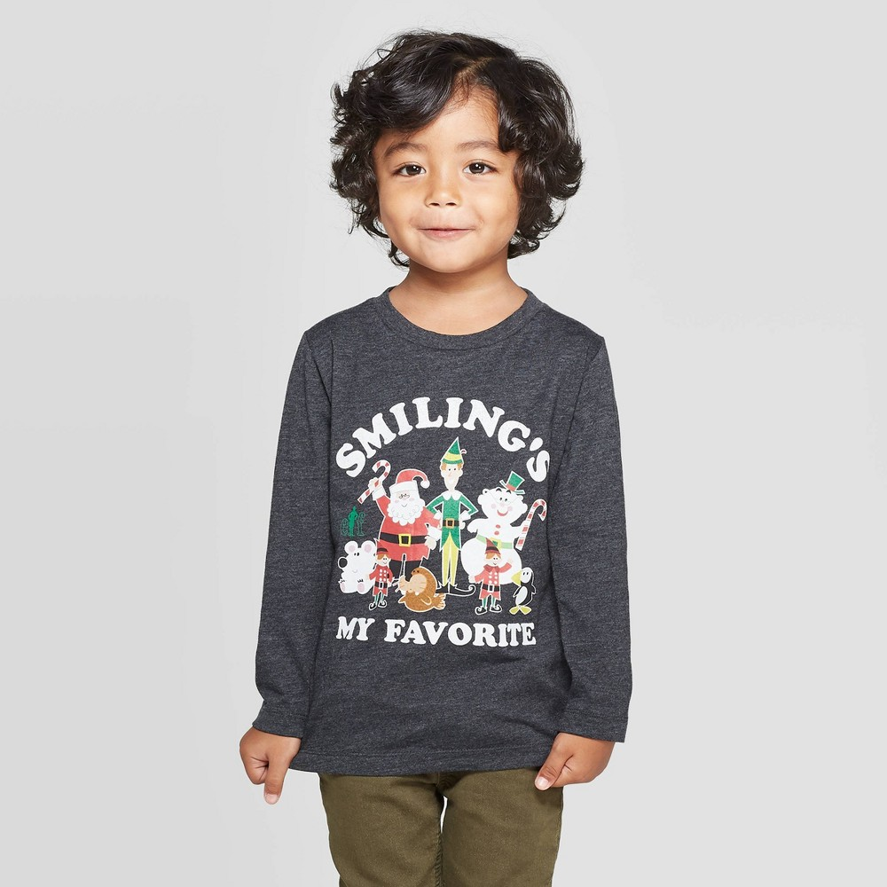 Image of Toddler Boys' Elf Long Sleeve T-Shirt - Charcoal 12M, Boy's, Black