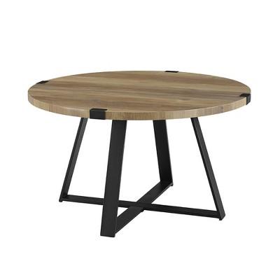 "30"" Round Urban Industrial Wood and Steel Coffee Table Rustic Oak - Saracina Home"