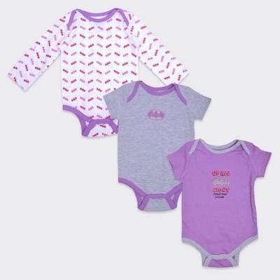 Girls' Batgirl® Up all Night 3pk Bodysuit Set - Purple/White/Gray 0-3M