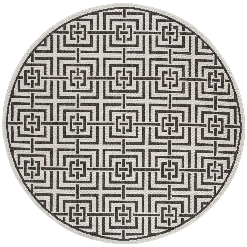 67 Round Geometric Loomed Area Rug Light Gray/Charcoal - Safavieh Promos