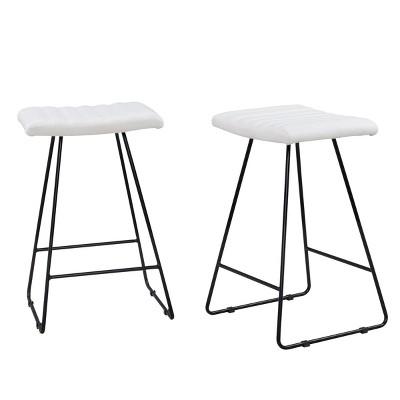 25  Stella Counter Stool Set Of 2 White/Black - Carolina Chair & Table