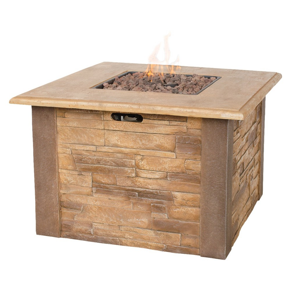 Blue Rhino Uniflame Faux Stacked Stone LP Gas Fire Pit wi...