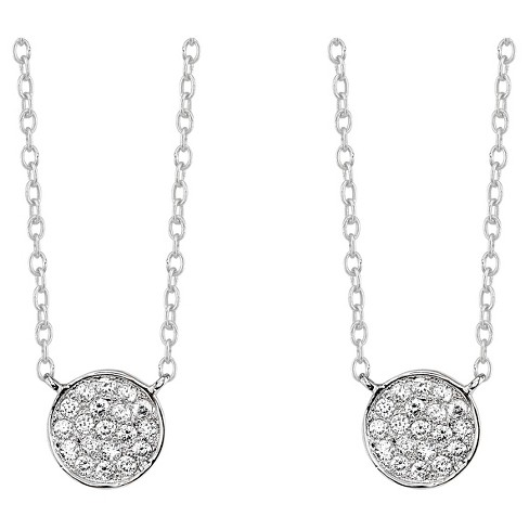 """Silver Plated Pave Disc Pendant 2 Piece Set - Silver (18"""") - image 1 of 2"""