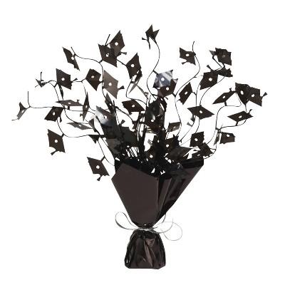 3ct Foil Spray Mortarboard Graduation Centerpieces Black