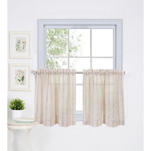 Linen Stripe Rod Pocket Kitchen Tier Window Curtain Set of 2 - Linen - Elrene Home Fashions - image 1 of 4