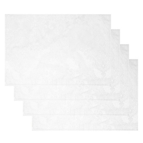 Caiden Elegance Damask Placemat Set Of 4 13 X 19 White Elrene Home Fashions Target