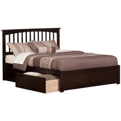 Mission Queen Flat Panel Foot Board w/ 2 Urban Bed Drawers Espresso - Atlantic Furniture