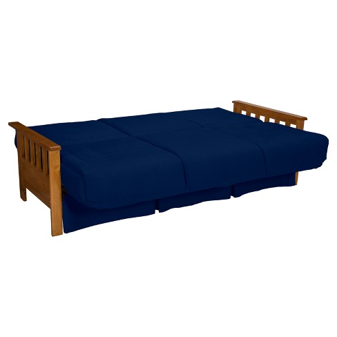 Mission Perfect Convertible Futon Sofa Sleeper Natural Finish Wood Arms Dark Blue Upholstery Chair Size Sit N Sleep Target