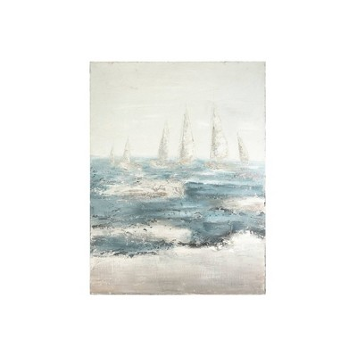 """47.5"""" Hand Painted Sailboats on Stormy Ocean Framed Wall Canvas Art - 3R Studios"""