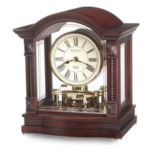 Bulova Clocks B1987 Wood Case Antique Walnut Finish Roman Numeral Chiming Bardwell Clock with Decorative Carved Brass Finished Accents - image 1 of 1
