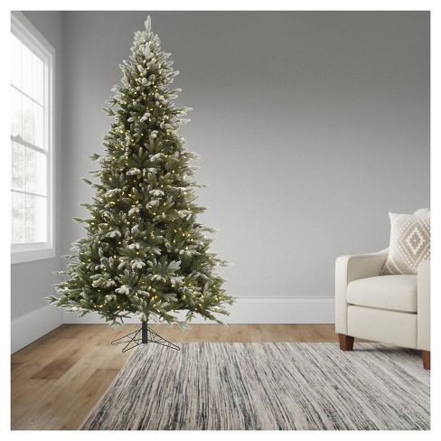 9ft Pre Lit Artificial Christmas Tree Full Frosted Balsam Fir
