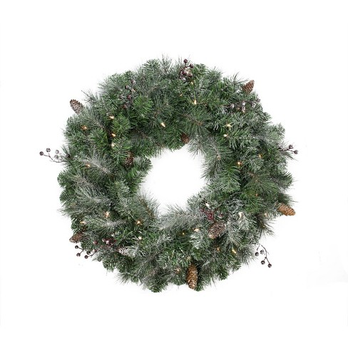 """Northlight 30"""" Prelit Frosted Arctic Mist Pine Artificial Christmas Wreath - Clear Lights - image 1 of 2"""