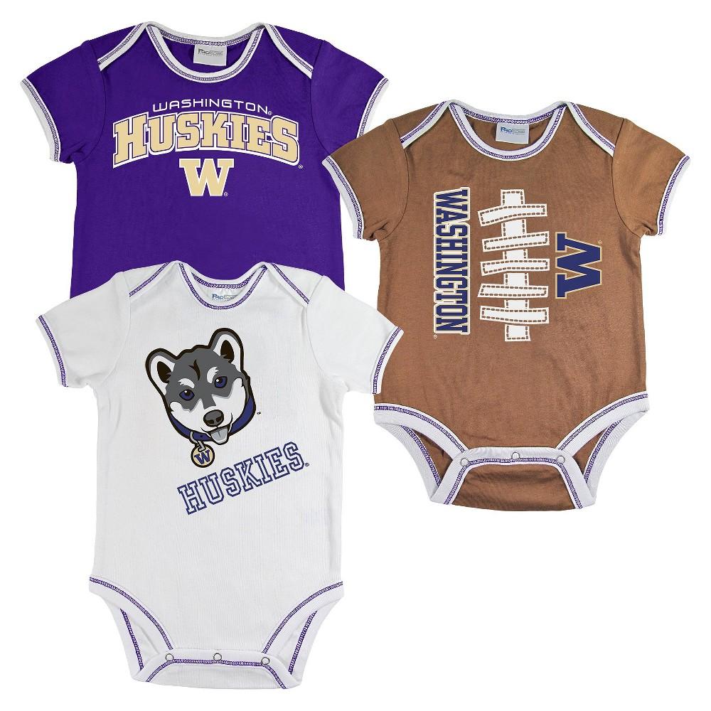 Washington Huskies Newborn Boys' 3pk Body Suit White S